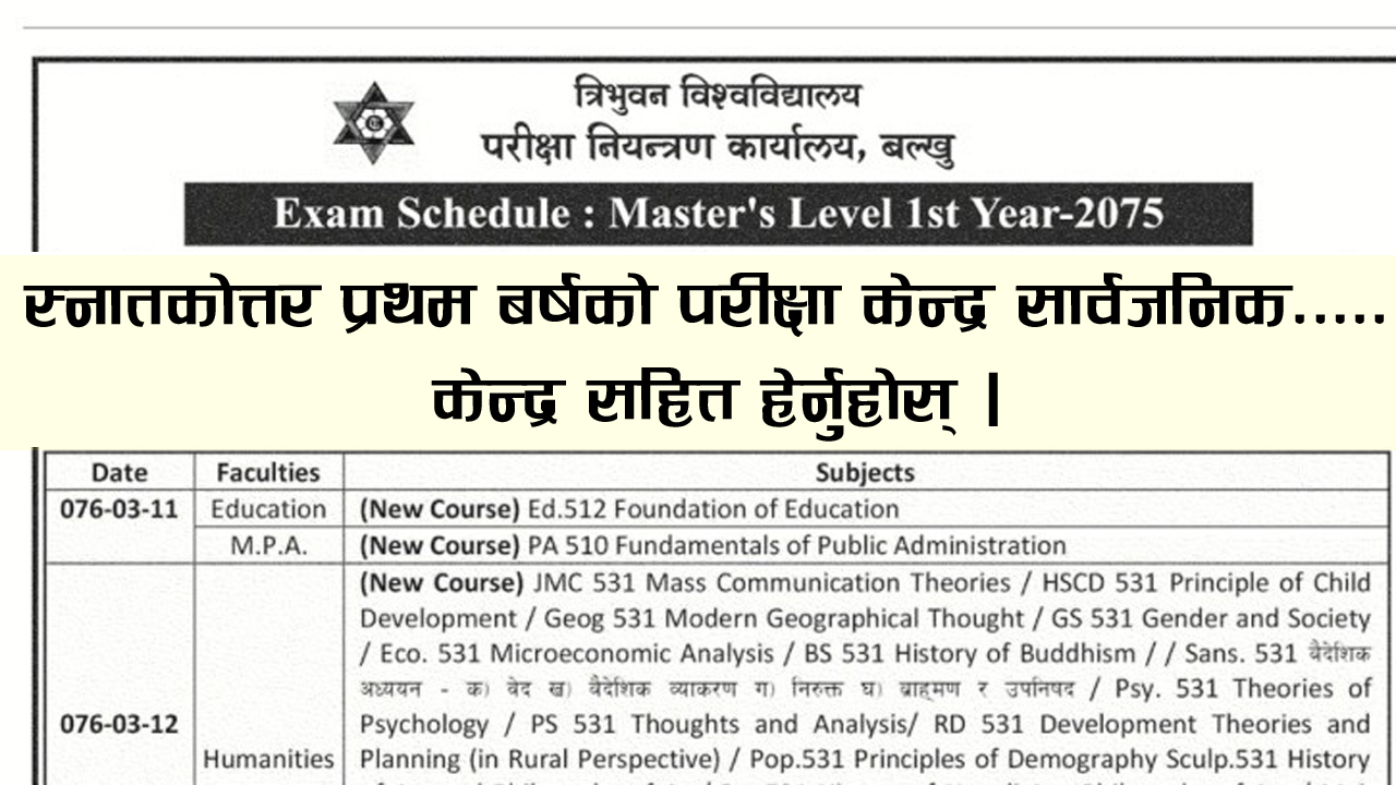 Master's Level First Year Exam Routine, Master's Level First Year Exam Routine 2076, Master's Level First Year Routine 2075, Master's Level First Year Routine , Master's Level First Year Exam Routine 2075, Humanities First Year Exam Routine, MA First Year Exam Routine, Management First Year Exam Routine, MB First Year Exam Routine, Public Administration First Year Exam Routine, MPA First Year Exam Routine, Education First Year Exam Routine, M.Ed First Year Exam Routine,