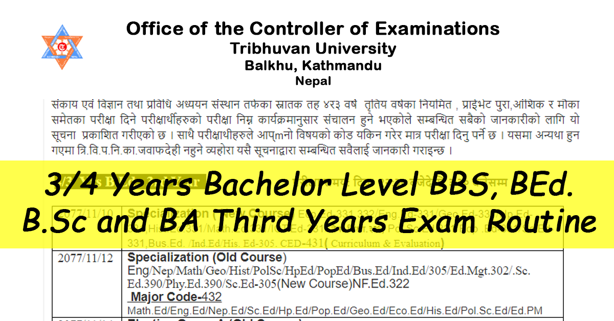 third and fourth Years Bachelor Level BBS, BEd. B.Sc and BA Third Years Exam Routine